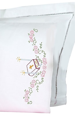 Stamped Pillowcases With White Perle Edge, Bible