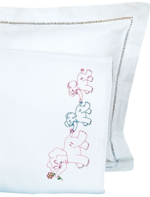 Children's Stamped Pillowcase With White Perle Edge, Elephant Train