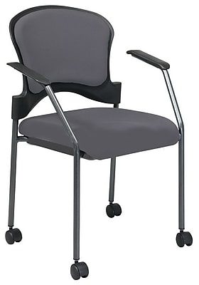 Office Star Proline II® Fabric Rolling Guest Chair, Gray