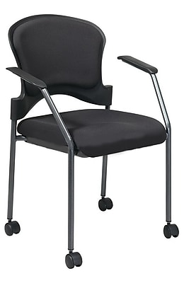 Office Star Proline II® Fabric Rolling Guest Chair, Black