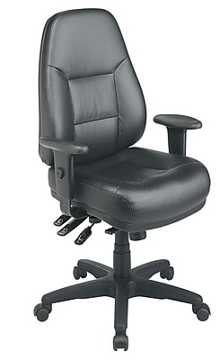 Office Star Leather Executive Office Chair Adjustable Arms Black