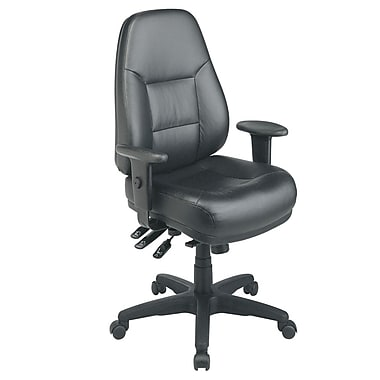 Office Star Leather Executive Office Chair, Adjustable Arms, Black (EC4350-EC3)