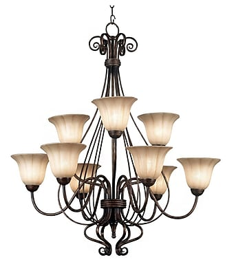 Kenroy Home Wallis 9 Light Chandelier, Burnished Bronze Finish