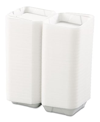 """""Boardwalk 0107 Snap-It Hinged Carryout Container, White, 3""""""""(H) x 8""""""""(W) x 8""""""""(D)"""""" 150042"