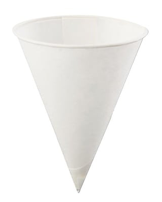 Konie KBR Rolled Rim Cone Cup, White, 4 oz., 5000/Case 150243