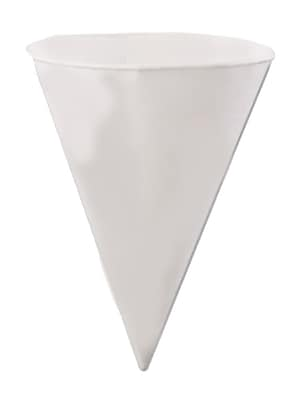 Konie KBR Rolled Rim Cone Cup, White, 6 oz., 5000/Case