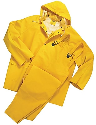 Anchor Brand Rainsuits, PVC/Polyester, Size S, Front Closure, Yellow