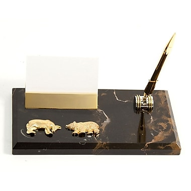 Bey-Berk Gold Plated Business Card Holder with Pen, Stock Market (D020B)