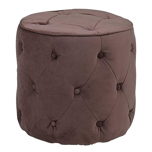 Office Star Ave Six® Fabric Curves Tufted Round Ottoman, Port Velvet