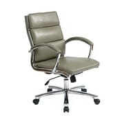 Office Star Swivel Faux Leather Executive Office Chair, Fixed Arms, Gray/Silver (FL5388C-U22)