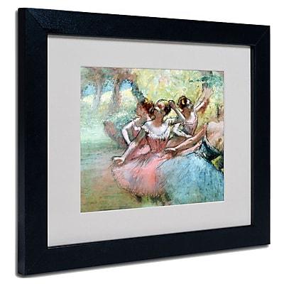 Trademark Fine Art Edgar Degas 'Four Ballerinas on the Stage' Matted Art Black Frame 11x14 Inches
