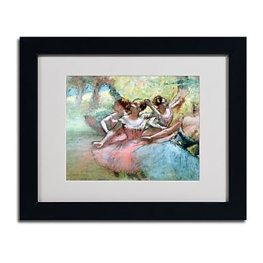 Trademark Fine Art Edgar Degas 'Four Ballerinas on the Stage' Matted Art Black Frame 16x20 Inches