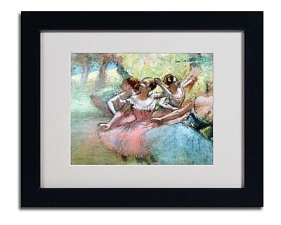 Trademark Fine Art Edgar Degas 'Four Ballerinas on the Stage' Matted Art Black Frame 16x20 Inches