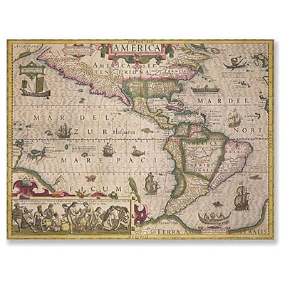 Trademark Fine Art Jodocus Hondius 'Map of America 1606' Canvas Art 14x19 Inches