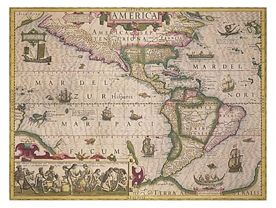 Trademark Fine Art Jodocus Hondius 'Map of America 1606' Canvas Art 35x47 Inches