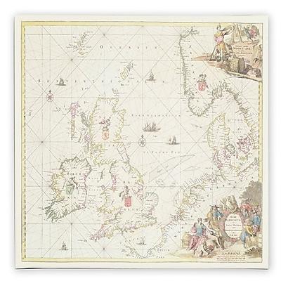 Trademark Fine Art Fredrick de Wit 'Map of the North Sea 1675' Canvas Art 14x14 Inches