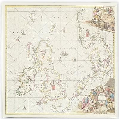 Trademark Fine Art Fredrick de Wit 'Map of the North Sea, 1675' Canvas Art 18x18 Inches