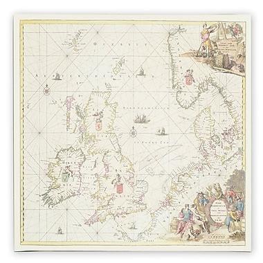 Trademark Fine Art Fredrick de Wit 'Map of the North Sea 1675' Canvas Art 35x35 Inches