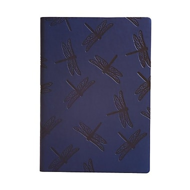 Eccolo™ Faux Leather Dragonflies Journal, Navy Blue