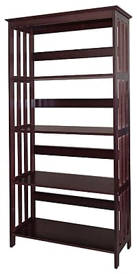 Ore International® Home Decorators Collection 4 Tier Rubberwood Bookcase, Espresso