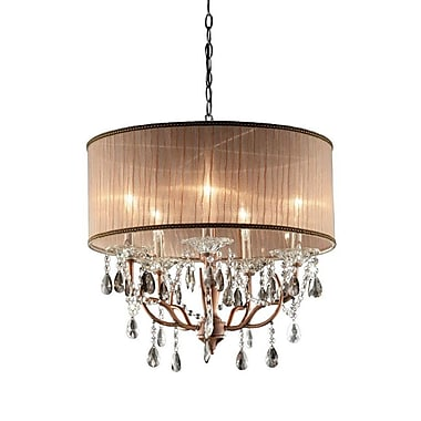 Ore International® K-5126H Incandescent 75 W Rosie Crystal Chandelier, Gray/Light Pink