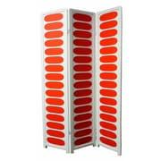 "Ore International® 3 Panel Wood Room Divider, 70 1/4"" x 45"", White/Orange"