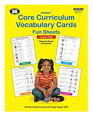 Super Duper® Webber Core Curriculum Vocabulary Cards Fun Sheets, Level Two