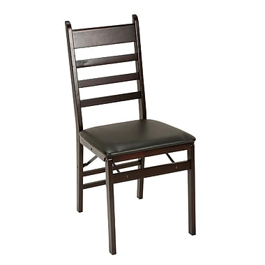 Cosco Products Wood Folding Chair with Vinyl Seat & Ladder Back, 2-pack, Espresso