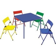 Cosco Products Cosco Kid's 5 Piece Folding Chair and Table Set, RED/YELLOW/BLUE
