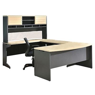 Altra Furniture Benjamin U Configuration Bundle with Desk, Hutch, Credenza and Bridge, Natural