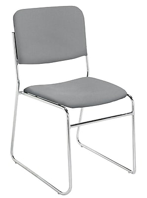 NPS® 8600 Series Signature Lightweight Fabric Padded Stack Chair, Classic Gray/Chrome, 4/Pack