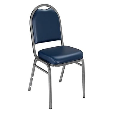 NPS® Vinyl Padded Dome Stack Chair, Midnight Blue/Silvervein