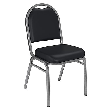 NPS® Vinyl Padded Dome Stack Chair, Panther Black/Silvervein