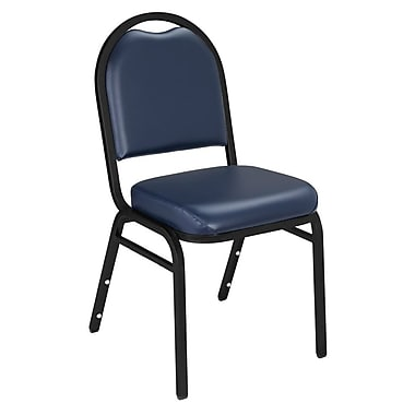 NPS® Vinyl Padded Dome Stack Chair, Midnight Blue/Black Santex