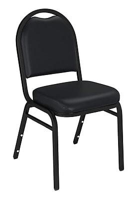 NPS® Vinyl Padded Dome Stack Chair, Panther Black/Black Santex