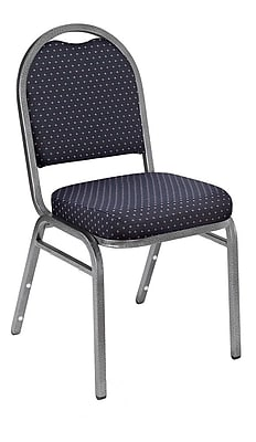 NPS® Pattern Fabric Padded Dome Stack Chair, Diamond Navy/Black Santex