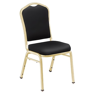 NPS® Silhouette Vinyl Padded Stack Chair, Panther Black/Gold