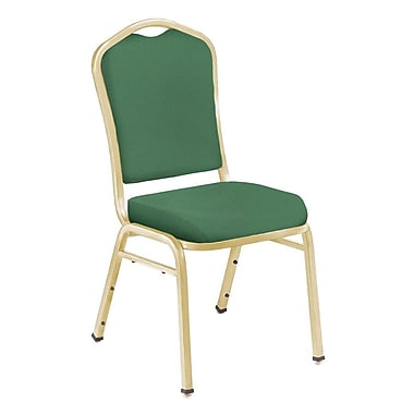NPS® Silhouette Solid Fabric Stack Chair, Hunter Green/Gold