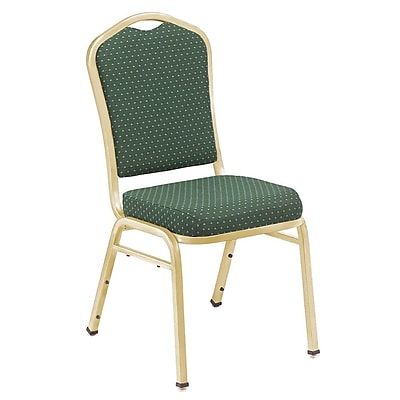 NPS® Silhouette Pattern Fabric Stack Chair, Diamond Green/Gold