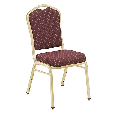 NPS® Silhouette Pattern Fabric Stack Chair, Diamond Burgundy/Gold