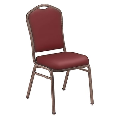 NPS® Silhouette Vinyl Padded Stack Chair, Pleasant Burgundy/Coppervein