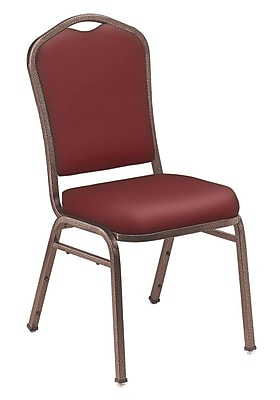 NPS® Silhouette Vinyl Padded Stack Chair, Pleasant Burgundy/Coppervein