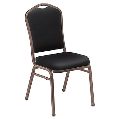 NPS® Silhouette Vinyl Padded Stack Chair, Panther Black/Coppervein