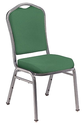 NPS® Silhouette Solid Fabric Stack Chair, Hunter Green/Silvervein