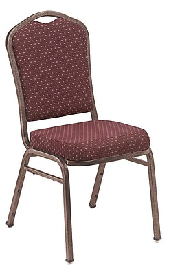 NPS® Silhouette Pattern Fabric Stack Chair, Diamond Burgundy/Silvervein