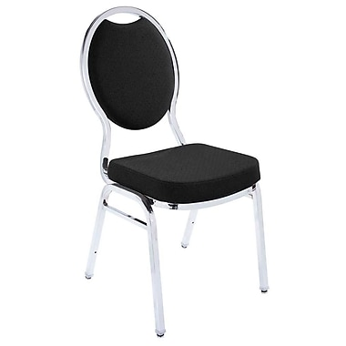 NPS® Fabric Tear Drop Back Stack Chair, Ebony Black/Chrome