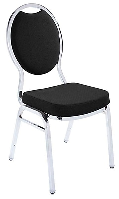 NPS® Fabric Tear Drop Back Stack Chair, Ebony Black/Chrome