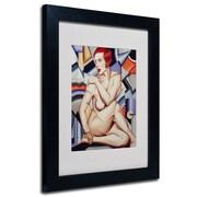 "Trademark Fine Art 'Cubist Nude Orange and Purple' 11"" x 14"" Black Frame Art"