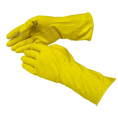 Royal Flocked-Lined Latex/Cotton Gloves, Yellow, Medium
