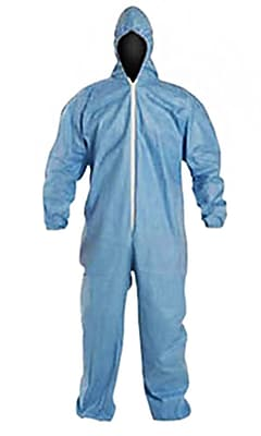 DuPont® Tempro® Elastic Cuff Zipper Front Coverall With Hood, Blue, 3X-Large, 25/Pack